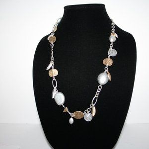 "Vintagejelyfish Jewelry - 32"" long silver and gold necklace"
